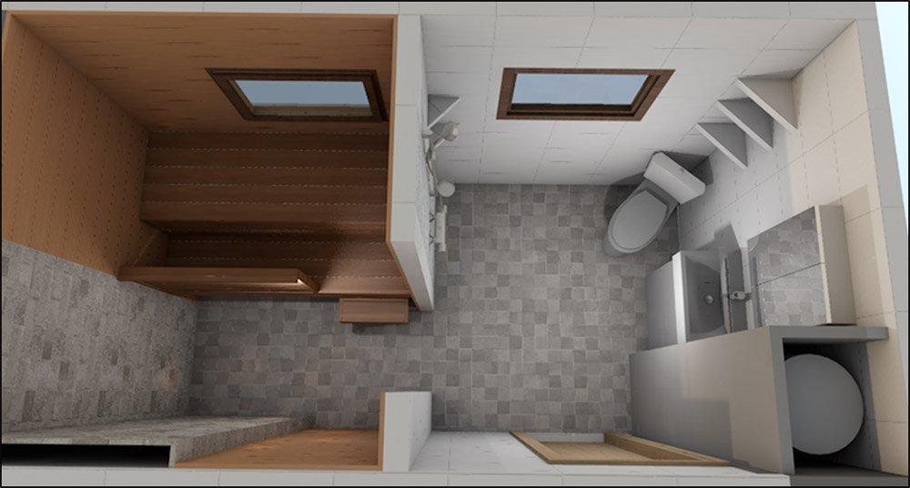 3D luonnostelua vapaa-ajan asunnon kylpyhuoneesta 2017