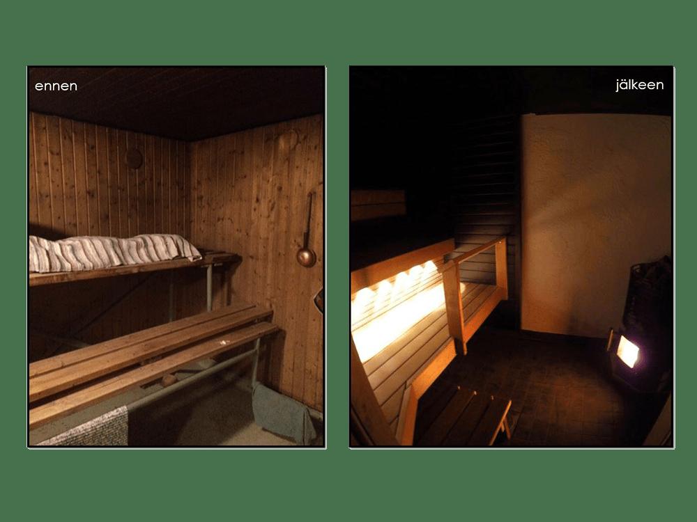 Alkuperäiskuntoisen rintamamiestalon kellarin pesutilojen muutos
